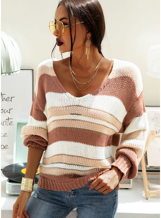 V-Neck Casual Striped Chunky knit Sweaters
