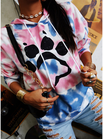 Animal Print Tie Dye Long Sleeves Hoodie