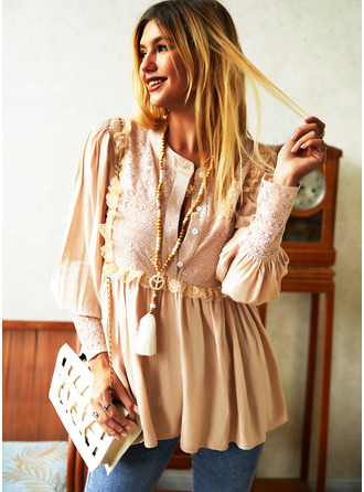 Lace Solid V-Neck Lantern Sleeve Long Sleeves Button Up Casual Blouses (1003251491)