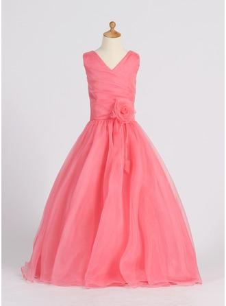 A-Line/Princess Floor-length Flower Girl Dress - Organza Sleeveless V-neck With Flower(s)