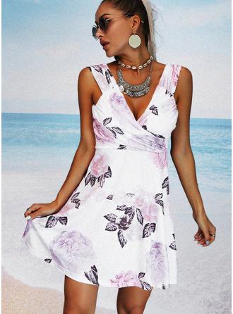 Цветочный Распечатать ножны безрукавный Мини Повседневная отпуск Модные платья