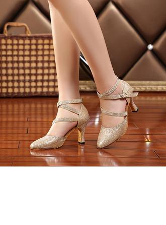 De mujer Brillo Chispeante Tacones Sandalias Sala de Baile con Agujereado Zapatos de danza