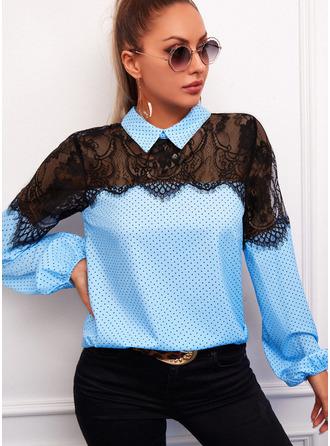 Lace PolkaDot Lapel Long Sleeves Casual Blouses