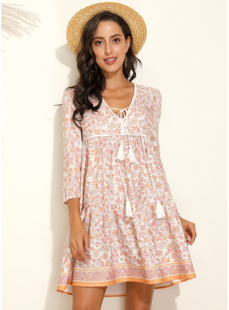 Above Knee V neck Polyester Print 3/4 Sleeves Fashion Dresses