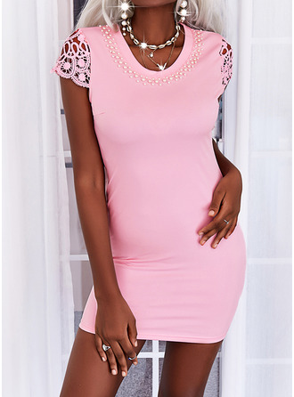Solid Bodycon Short Sleeves Mini Casual Dresses