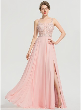 5927f9cec07 A-Line Square Neckline Floor-Length Chiffon Prom Dresses With Beading  Sequins Split Front
