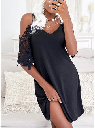 Solide Shiftjurken 1/2 Mouwen Mini Zwart jurkje Casual Vakantie Tunieken ()