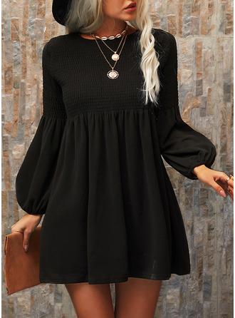 Solid Shift Elbiseleri Mâneci Lungi Mini Negre gündelik Tunică Moda Elbiseler