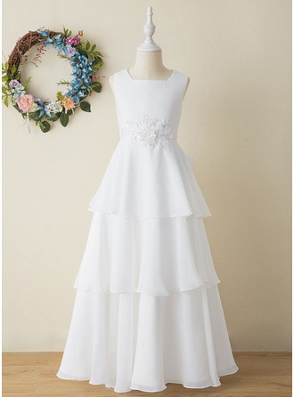 A-Line Floor-length Flower Girl Dress - Chiffon Sleeveless Square Neckline