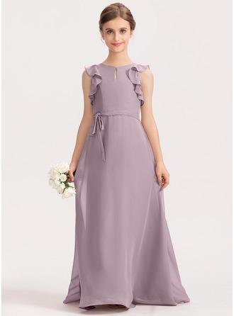 A-Linie U-Ausschnitt Bodenlang Chiffon Kleid für junge Brautjungfern mit Schleife(n) Gestufte Rüschen