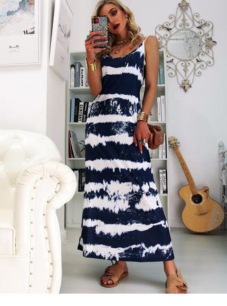 uvázat barvivo Šaty Shift Bezrukávů Maxi Neformální Dovolená Typ Módní šaty