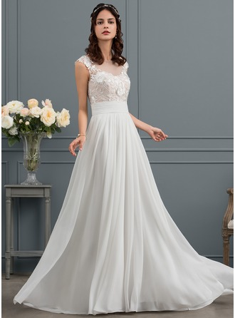 A-Line/Princess Scoop Neck Sweep Train Chiffon Wedding Dress With Ruffle