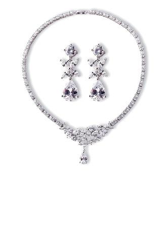 Senhoras Elegante Cobre/Platinadas com Pêra Zirconia cúbico Conjuntos de jóias Ela/Noiva