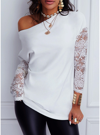 Lace Solid One Shoulder Long Sleeves Casual Blouses