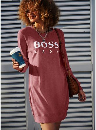 Nadruk Suknie shift Długie rękawy Mini Nieformalny Bluza Modne Suknie