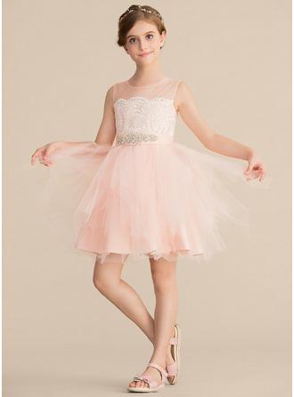 Forme Princesse Longueur genou Robes à Fleurs pour Filles - Satiné/Tulle/Dentelle Sans manches Col rond avec Strass