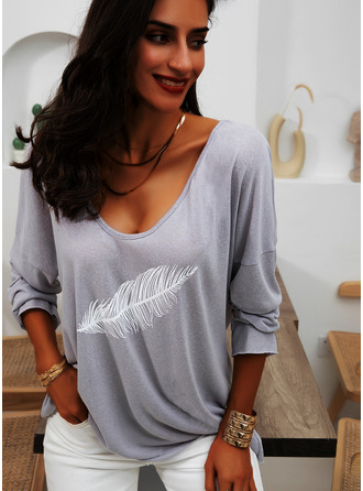 Imprimé Col V Manches Longues Décontractée T-shirt