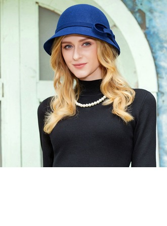 Ladies' Pretty Wool With Bowknot Bowler/Cloche Hat