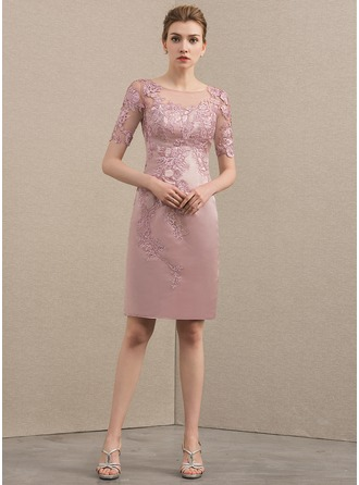 Sheath/Column Scoop Neck Knee-Length Satin Cocktail Dress With Beading Appliques Lace