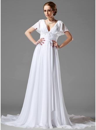 A-Line/Princess V-neck Chapel Train Chiffon Wedding Dress With Ruffle Beading Appliques Lace