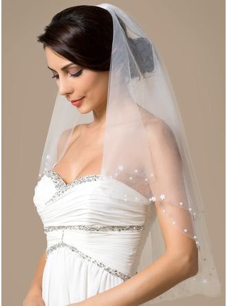 Due strati Velare da sposa gomito con Bordo tagliato