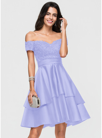 A-Line Off-the-Shoulder Knee-Length Satin Homecoming Dress With Lace Sequins