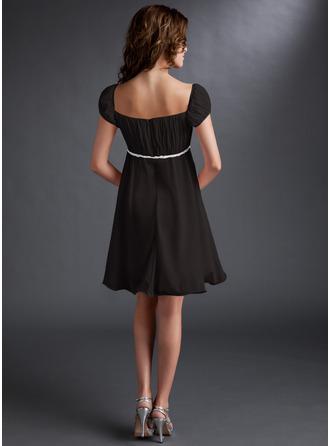 Empire Square Neckline Short/Mini Chiffon Homecoming Dress With Ruffle Beading Sequins Bow(s)