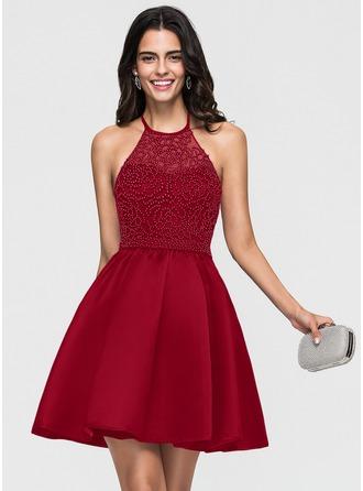 A-Line/Princess Halter Short/Mini Satin Homecoming Dress With Beading Bow(s)