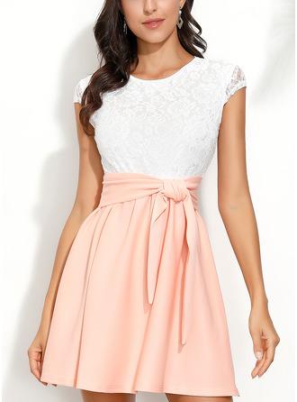 Color Block Lace A-line Short Sleeves Mini Vintage Casual Elegant Skater Dresses