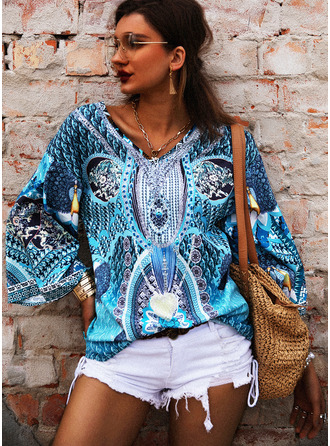 Print V-Neck Flare Sleeve Long Sleeves Casual Blouses (1003251417)