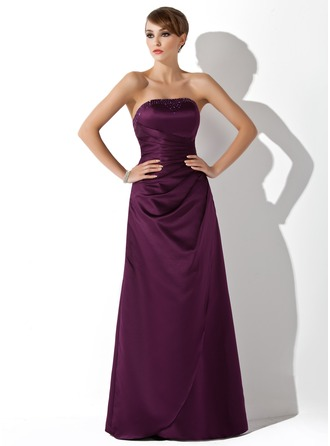 Sheath/Column Strapless Floor-Length Satin Bridesmaid Dress With Ruffle Beading