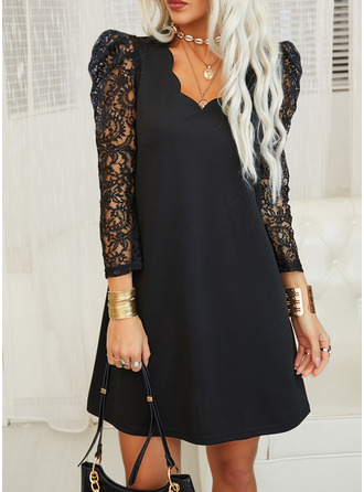 Lace Solid Shift 3/4 Sleeves Puff Sleeves Mini Little Black Elegant Tunic Dresses