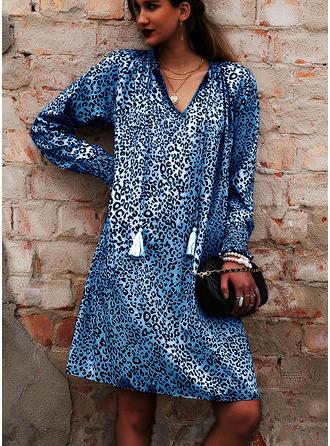 Leopard Šaty Shift Rukávy do zvonu Dlouhé rukávy Mini Neformální Dovolená Tunika Módní šaty