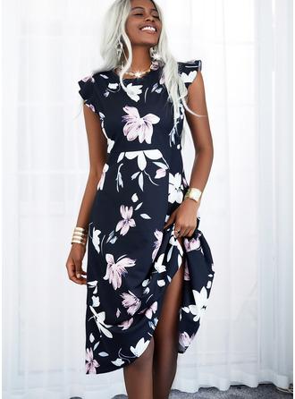 Floral Print A-line Cap Sleeve Midi Casual Skater Dresses