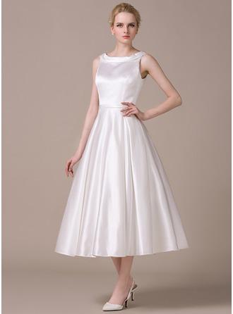 A-Line/Princess Scoop Neck Tea-Length Satin Wedding Dress