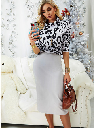 Leopard Bodycon Long Sleeves Midi Casual Dresses
