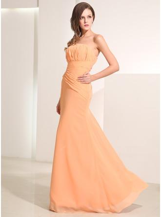 A-Linie/Princess-Linie Trägerlos Bodenlang Chiffon Festliche Kleid mit Rüschen
