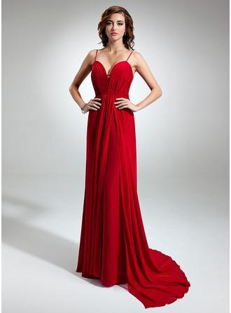 A-Line/Princess Sweetheart V-neck Watteau Train Chiffon Evening Dress With Ruffle