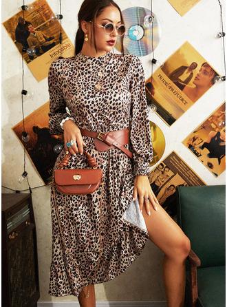 Leopard Do tvaru A Dlouhé rukávy Midi Neformální Skaterové Módní šaty