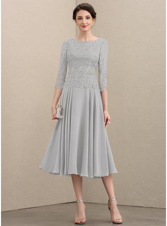 A-Linie U-Ausschnitt Wadenlang Chiffon Spitze Kleid für die Brautmutter