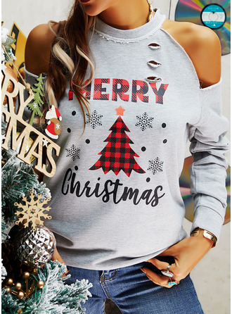Figure Print Cold Shoulder Long Sleeves Casual Christmas Blouses