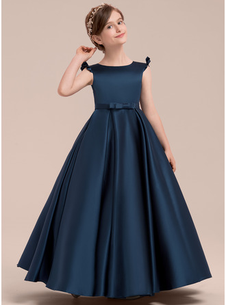 Ball Gown Floor-length Flower Girl Dress - Satin Sleeveless Scoop Neck With Bow(s)