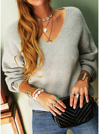 Solid V-Neck Long Sleeves Button Up Casual