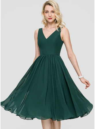 V-Neck Dark Green Chiffon Chiffon Dresses