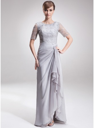 A-Line/Princess Scoop Neck Asymmetrical Chiffon Lace Mother of the Bride Dress With Split Front Cascading Ruffles