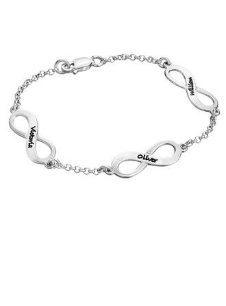 personnalisé Dames Amour éternel Argent 925 Bracelets Gravés Bracelets elle/Amis/la mariée/Demoiselle d'honneur/Fille fleurie
