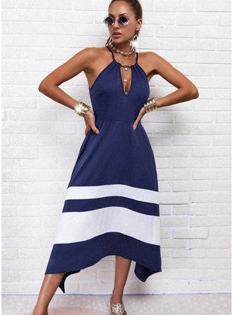 Color Block Streep A-lijn-jurk Mouwloos Asymmetrische Casual schaatser Typ ()