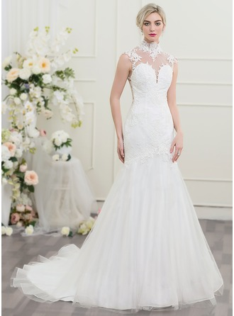 Trumpet/Mermaid High Neck Chapel Train Tulle Wedding Dress