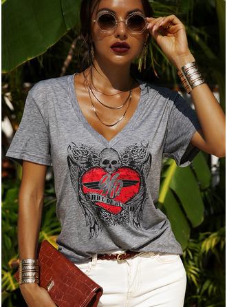 Druck V-Ausschnitt Kurze Ärmel Lässige Kleidung T-shirt