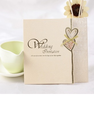 Style cœur Pli en acordéon Invitation Cards (Lot de 50)